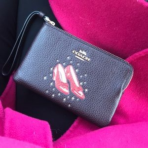 Coach Wizard of Oz Ruby Slippers wristlet NWT